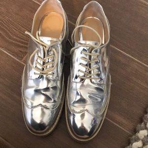 Zara Women silver lace up sneakers size 9